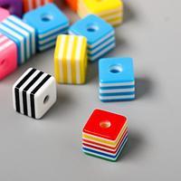 "Декор для творчества пластик набор 13 шт ""Полосатые кубики"" 1х1х0,8 см"