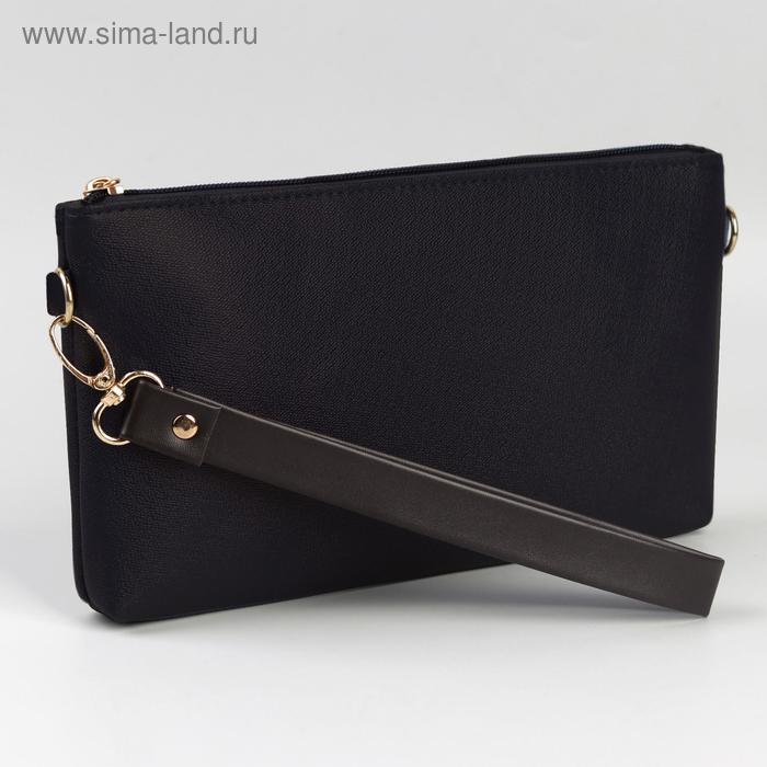 Ручка-петля для сумки, с карабином, 20 × 2 см, цвет коричневый/золотой - фото 2