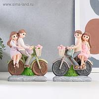 """Сувенир полистоун """"Парочка детей на велосипеде"""" МИКС 15,5х13х4,5 см"""