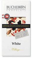 Bucheron белый шоколад с миндалём, клюквой и клубникой в картоне  100гр (10шт - упак)
