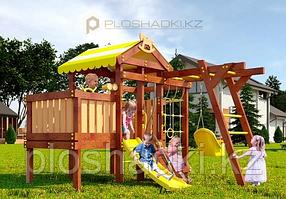 Детская площадка Савушка BABY-2 (play), с рукоходом, скалодромом, юиноклем, рулём, турником, горкой