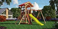 Детская площадка Савушка-4 с пластиковой горкой, качелей, веревочной лестницей.