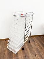 Столик инструментальный металлический помощник 10 полок с ящиками, фото 1