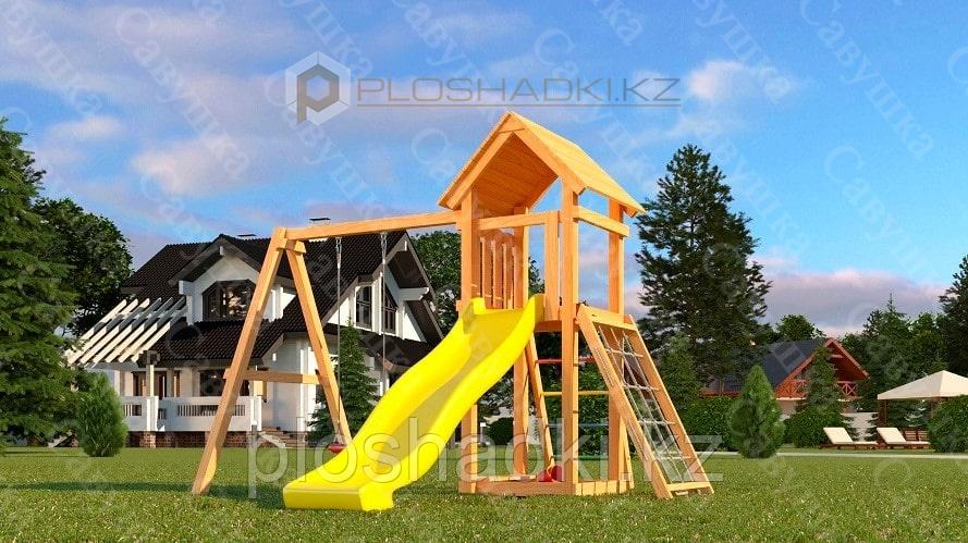 Детская площадка Савушка Мастер 7, с песочницей, сеткой-лазалкой.