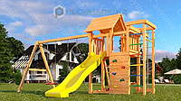 Детская площадка Савушка Мастер 10, с пластиковой горкой, лавочкой на песочницу.