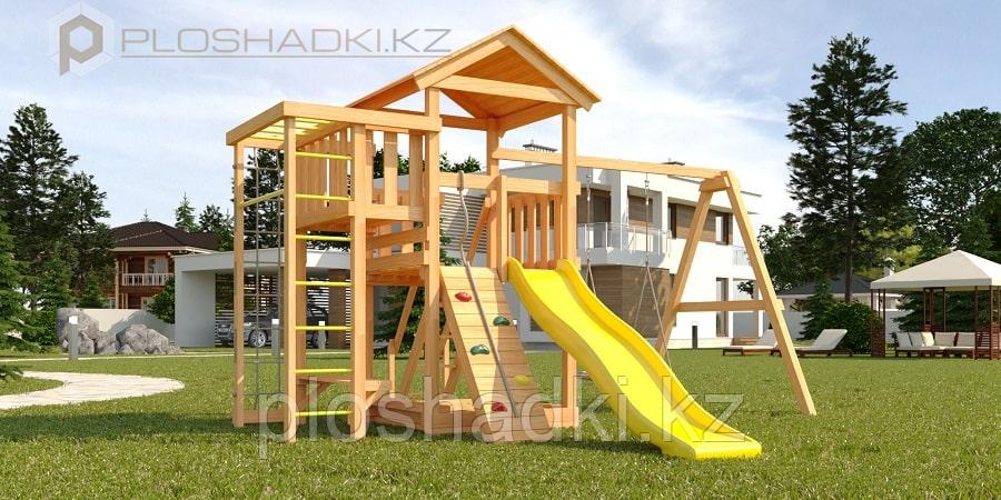 """Детская площадка Савушка Мастер 3, с качелями """"Гнездо""""."""