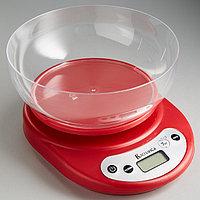 Весы кухонные электронные с чашей ВАСИЛИСА ВА-010, до 7кг, красные
