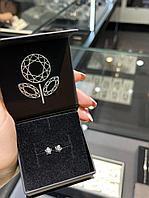 Пуссеты из серебра с бриллиантом, фото 1