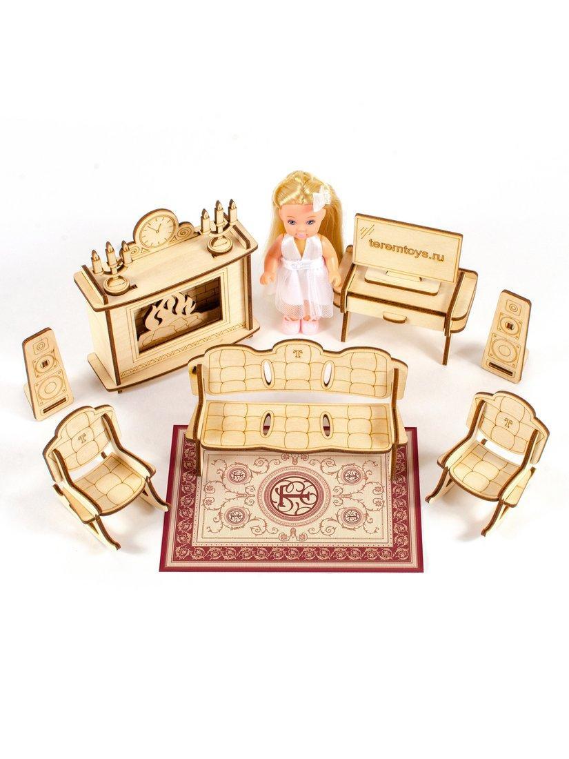 """Теремок Сборная деревянная модель мебели для кукол 10-15 см """"Гостиная с камином"""""""