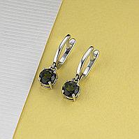 Серьги из серебра с хромдиопсидом (якутские изумруды), фото 1