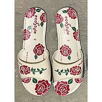 Шлепки женские кож. Цветы Роза белые 36-40