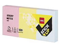 Клейкие листки DELI 51 х 38 мм  3 блока х 100 л  ассорти, 100 листов