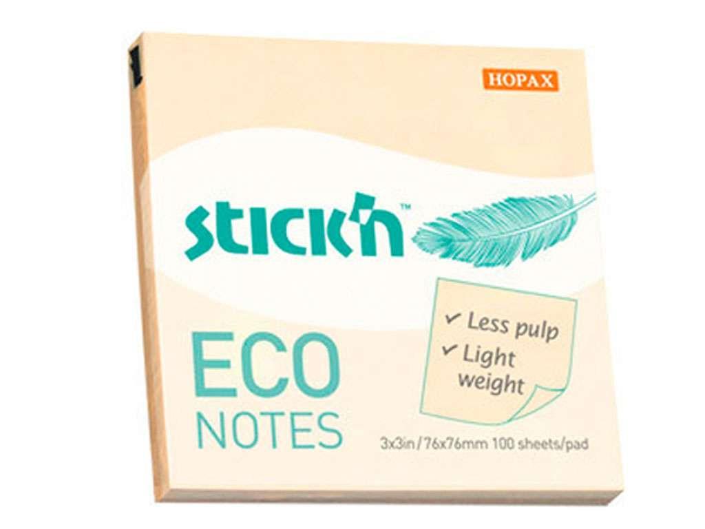 Клейкие листки STICK`N 76 х 76 мм  желтые, 100 листов