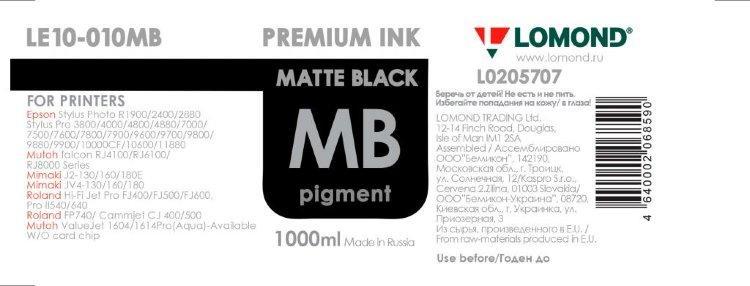 Чернила Stylus PRO 4880/7880/9880 LOMOND LE10-010MB (Matte Black)