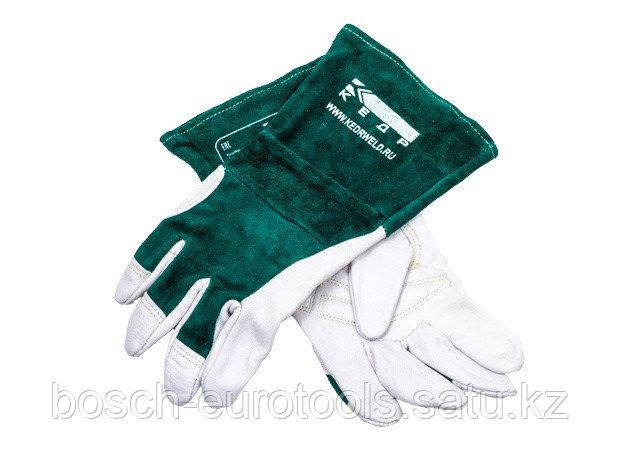 Краги сварочные КЕДР КС-18 УНИВЕРСАЛ TIG, (L), бело-зеленые