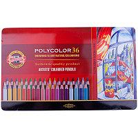 """Карандаши цветные художественные Koh-I-Noor """"Polycolor"""" 36цв., заточен., метал. пенал"""