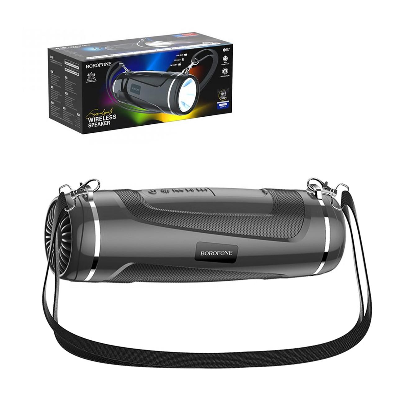 Портативная акустическая система Bluetooth Borofone BR7 Led Flashlight IPX5, Black