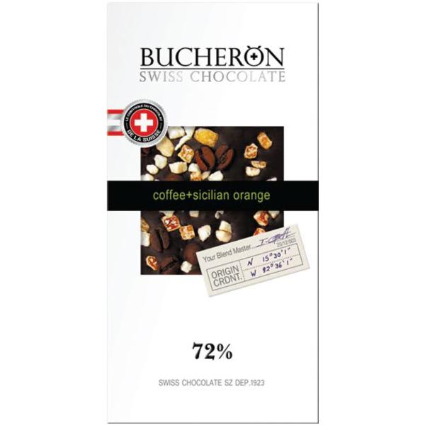 Bucheron горький шоколад с зернами кофе и апельсином в картоне  100гр (10шт - упак)