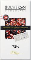 Bucheron горький шоколад с клюквой клубникой и фисташками в картоне  100гр (10шт - упак)