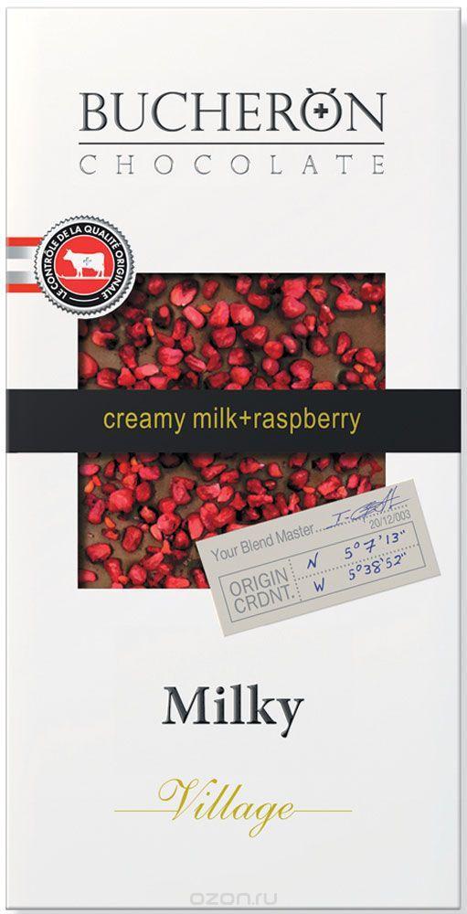 Bucheron молочный шоколад с кусочками малины в картоне  100гр (10шт - упак)