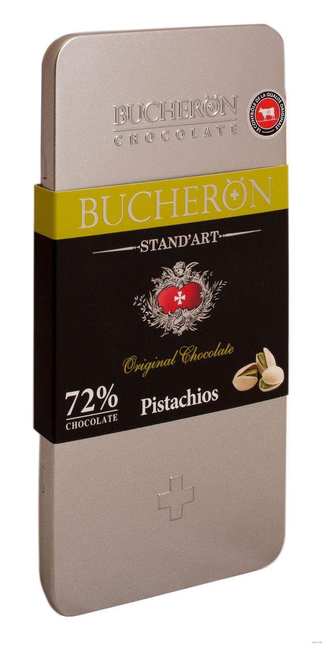 Bucheron горький шоколад с фисташками в железной упаковке  100гр (10шт - упак)