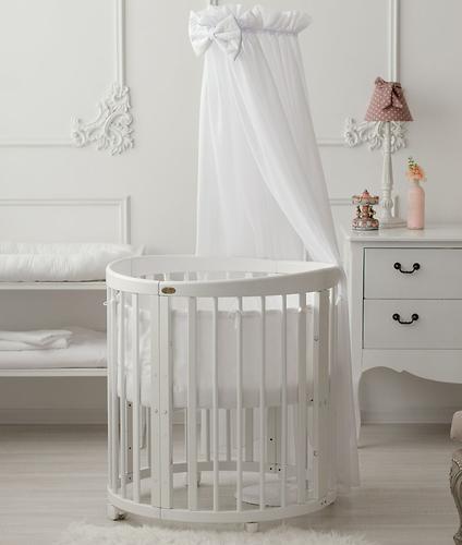 Кроватка детская Bambini овальная М 01.10.14 Белый - фото 1
