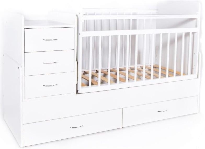 Кровать-трансформер детская Bambini M 01.10.01 Белая фасад ящиков МДФ
