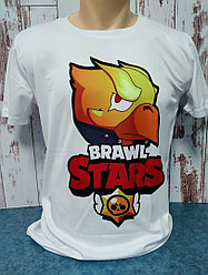 "Футболка Сендвич, цвет белый, Unisex, с принтом ""«BRAWL STARS CROW \ ВОРОН»"", формат печати А3, сублимация,"