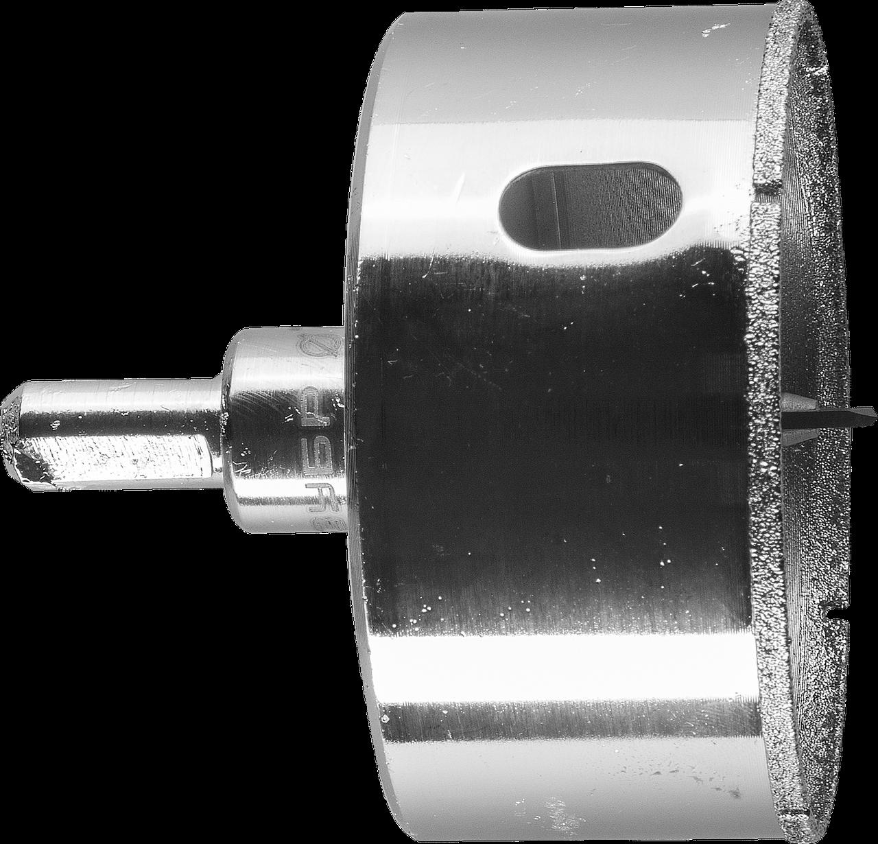 Коронка алмазная по кафелю и стеклу, d=73 мм, зерно Р 60, в сборе с центрирующим сверлом и имбусовым ключом,