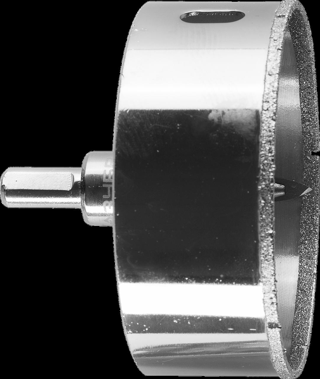 Коронка алмазная по кафелю и стеклу, d=90 мм, зерно Р 60, в сборе с центрирующим сверлом и имбусовым ключом,
