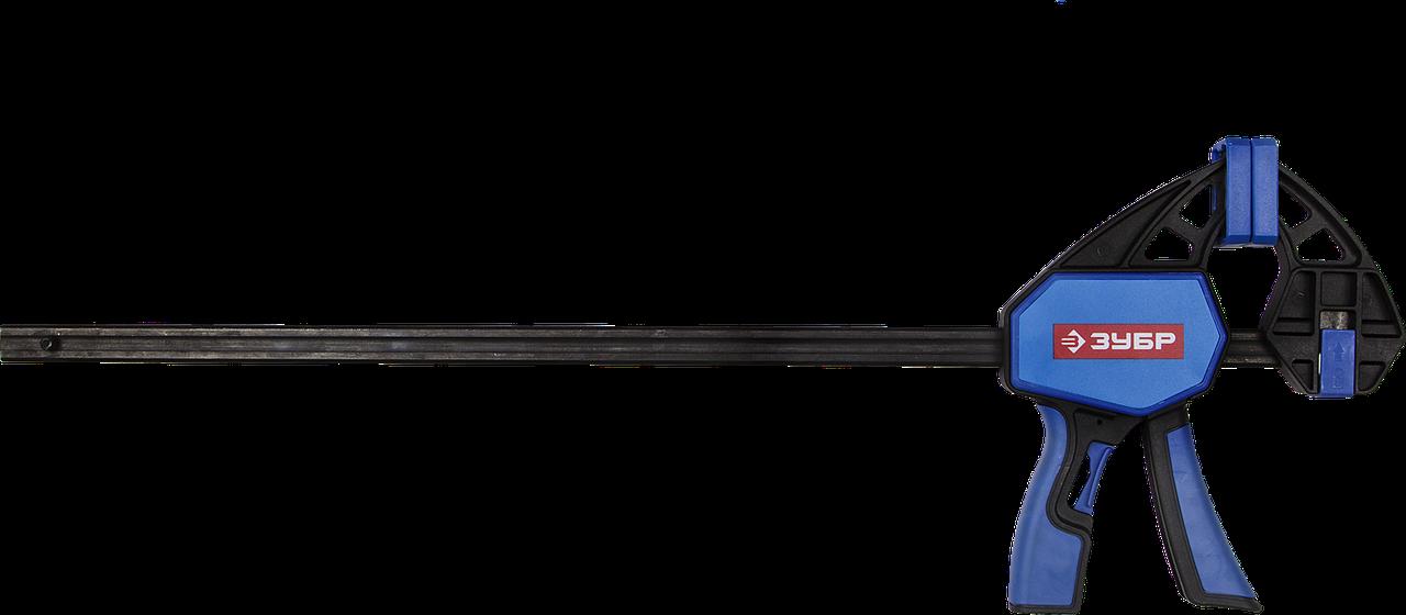 """Струбцина ЗУБР""""Профессионал""""ручная пистолетная, корпус нейлон,армир фиберглассом,двухкомп ручки,метал"""