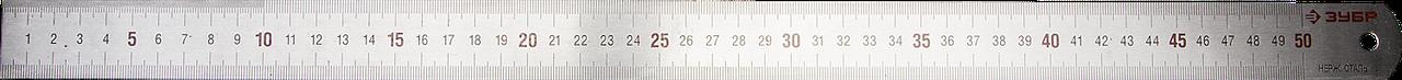 """Линейка ЗУБР """"ЭКСПЕРТ"""" нержавеющая, двусторонняя, непрерывная шкала 1/2мм / 1мм, двухцветная, длина 0,5м,"""