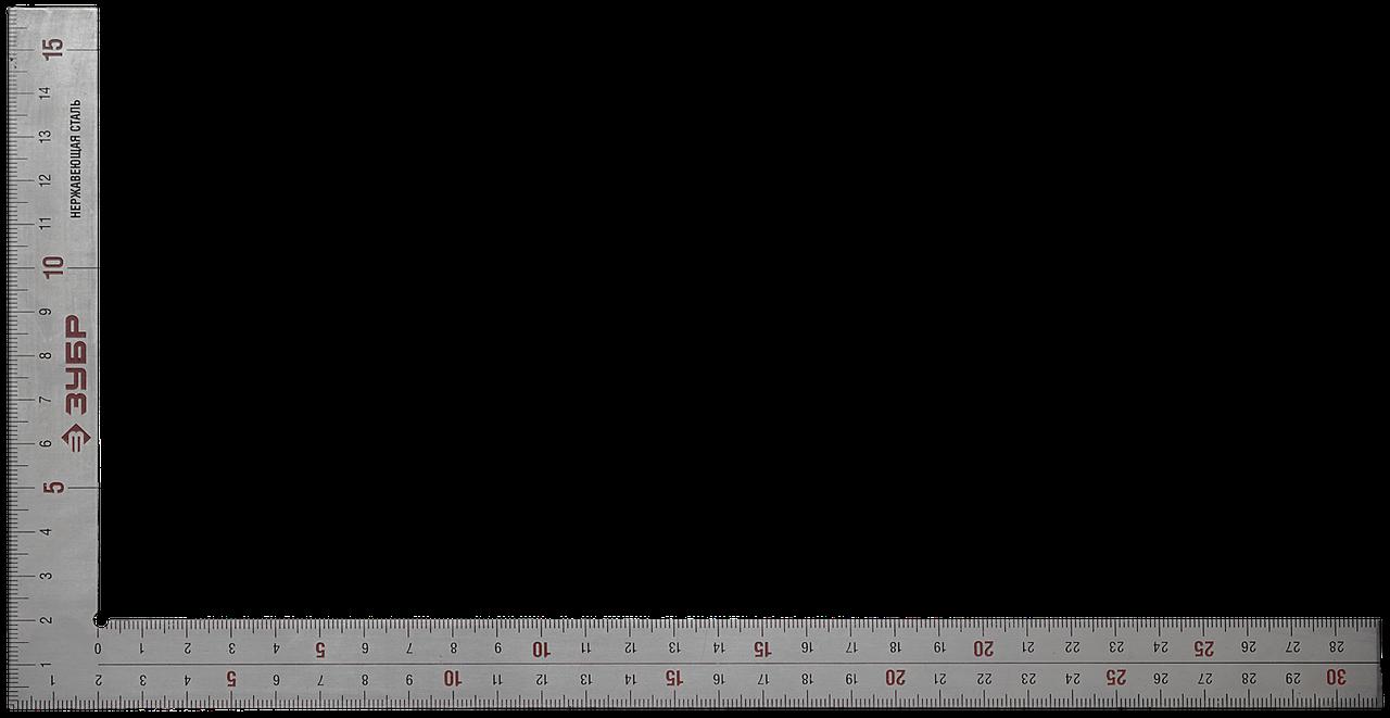 ЗУБР ЦЕЛЬ 300 х 150 мм цельнометаллический нержавеющий угольник