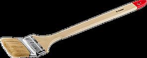 """Кисть радиаторная угловая ЗУБР """"УНИВЕРСАЛ-МАСТЕР"""", светлая натуральная щетина, деревянная ручка, 75мм"""