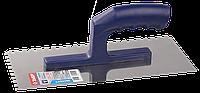ЗУБР Профи 130х280 мм, 6х6 мм, гладилка штукатурная зубчатая нержавеющая с пластиковой ручкой. Серия
