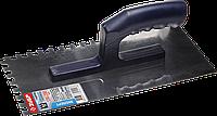 ЗУБР Профи 130х280 мм, 8х8 мм, гладилка штукатурная зубчатая нержавеющая с пластиковой ручкой. Серия