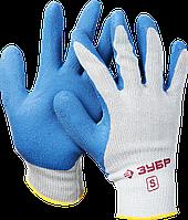 Перчатки ЗУБР рабочие с резиновым рельефным покрытием, размер S