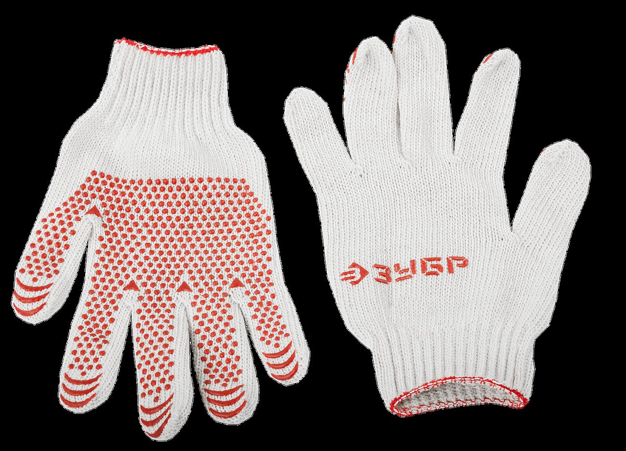 ЗУБР МАСТЕР, размер L-XL, 10 пар в упаковке, перчатки для тяжелых работ, х/б 7 класс, с ПВХ-гель покрытием