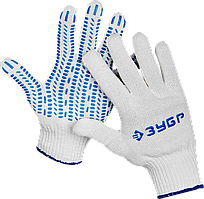 """ЗУБР ПРОТЕКТОР, размер S-M, перчатки с увеличенной площадью ПВХ-гель покрытия """"протектор"""", х/б 10 класс."""