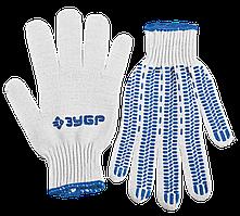 """ЗУБР ПРОТЕКТОР, размер L-XL, перчатки с увеличенной площадью ПВХ-гель покрытия """"протектор"""", х/б 10 класс."""