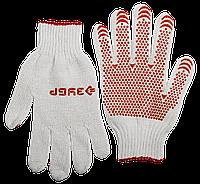 ЗУБР МАСТЕР, размер L-XL, перчатки для тяжелых работ, х/б 7 класс, с ПВХ-гель покрытием (точка)