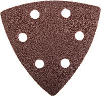 """Треугольник шлифовальный ЗУБР """"Мастер"""" универсальный на велкро основе, 6 отверстий, Р60, 93х93х93мм, 5шт"""
