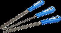 """Набор ЗУБР: Напильники """"Профессионал"""" с двухкомпонентной ручкой, плоский, трехгранный, круглый, №2, 200мм"""