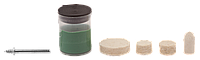 Мини-набор ЗУБР: Круг полир фетр 12,5x9,0мм 2шт,25х6,0,тверд фетр 10х19,0мм,оправка d3,2,L38мм,полир паста в