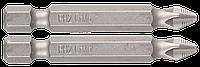 """Биты ЗУБР """"Мастер"""" кованые, хромомолибденовая сталь, тип хвостовика E 1/4"""", PH2, 50мм, 2шт"""