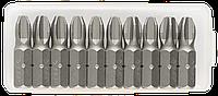 """Биты ЗУБР """"Мастер"""" кованые, хромомолибденовая сталь, тип хвостовика C 1/4"""", PH3, 25мм, 10шт"""