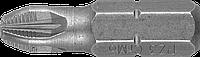 """Биты ЗУБР """"Мастер"""" кованые, хромомолибденовая сталь, тип хвостовика C 1/4"""", PZ3, 25мм, 2шт"""