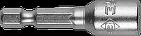 """Биты ЗУБР """"Мастер"""" с торцовой головкой, магнитные, Cr-V, тип хвостовика E 1/4"""", 6х45мм, 2шт"""