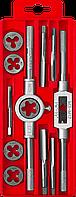 ЗУБР 12 предметов, набор метчиков и плашек в пластиковом боксе, сталь 9ХС