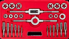 ЗУБР 27 предметов, набор метчиков и плашек в пластиковом боксе, сталь 9ХС